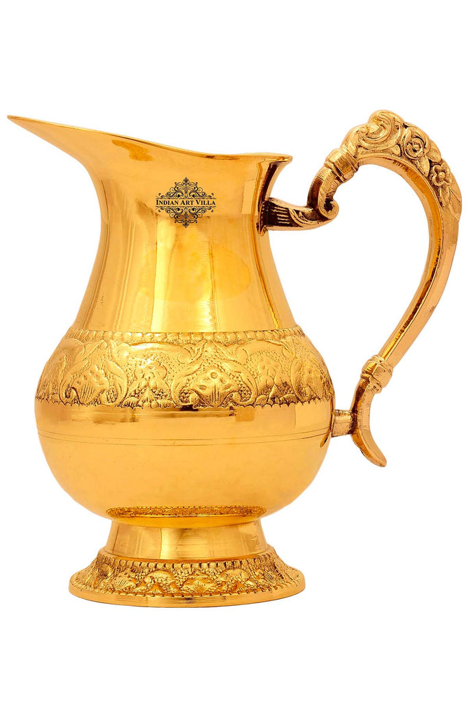 Designer Brass Handmade Jug Pitcher, Drinkware & Tableware, For Serving and Drinking Water, 33 Oz , Gold