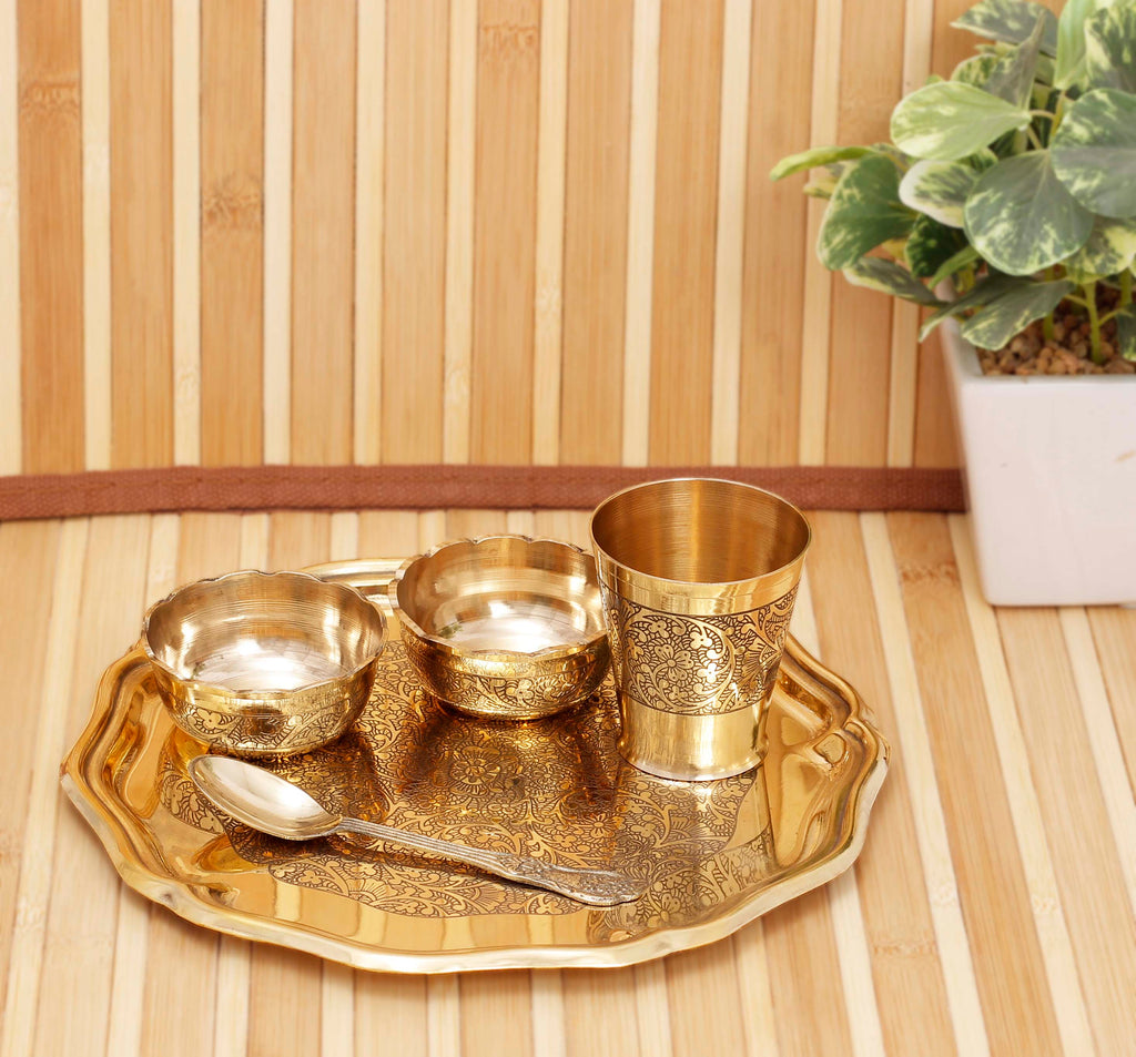 Brass Embossed Design Kansa Utensil Brass Kanha Ji Puja Thali (Gold) - Set of 5