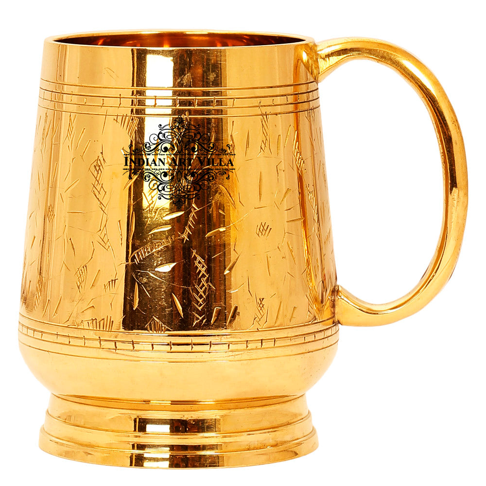 Brass Designer Mug Cup With handle, 16 Oz, Gold