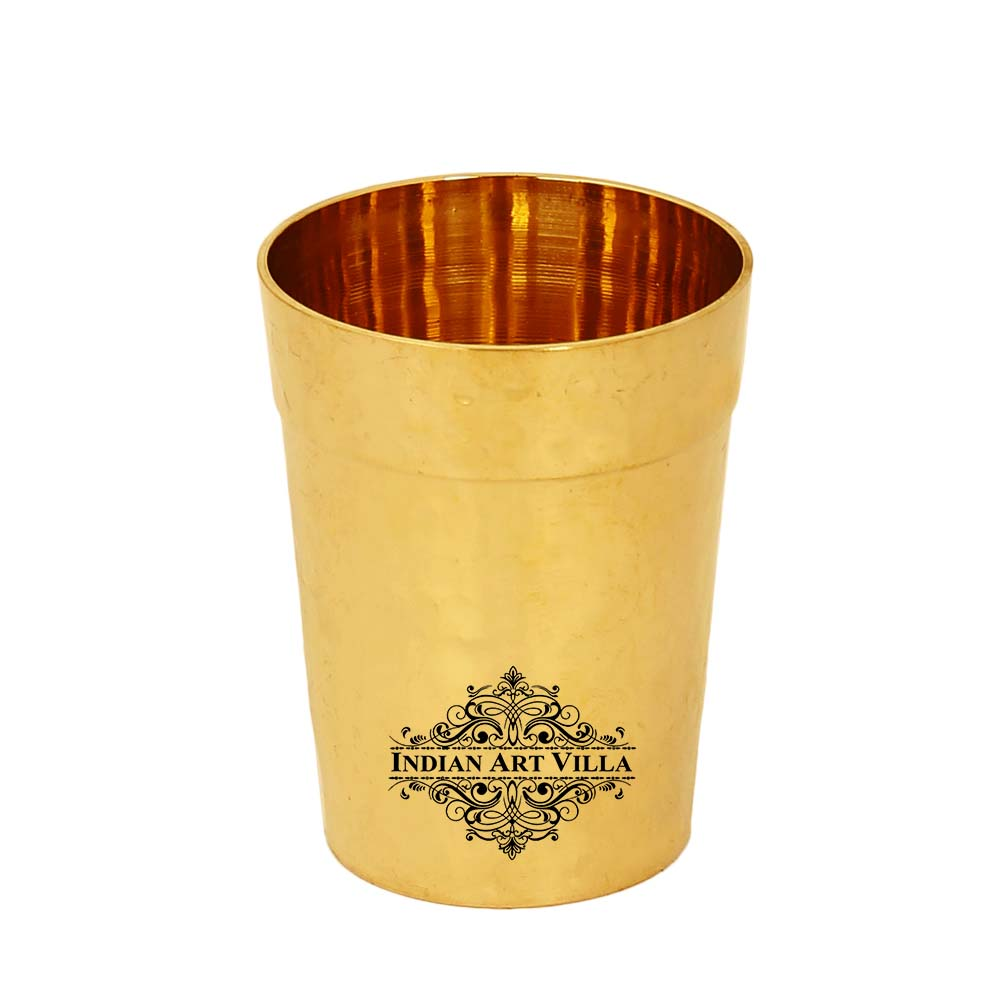 Brass Hammer Design Tumbler Glass Cup, Drinkware, 5.4 Oz, Gold