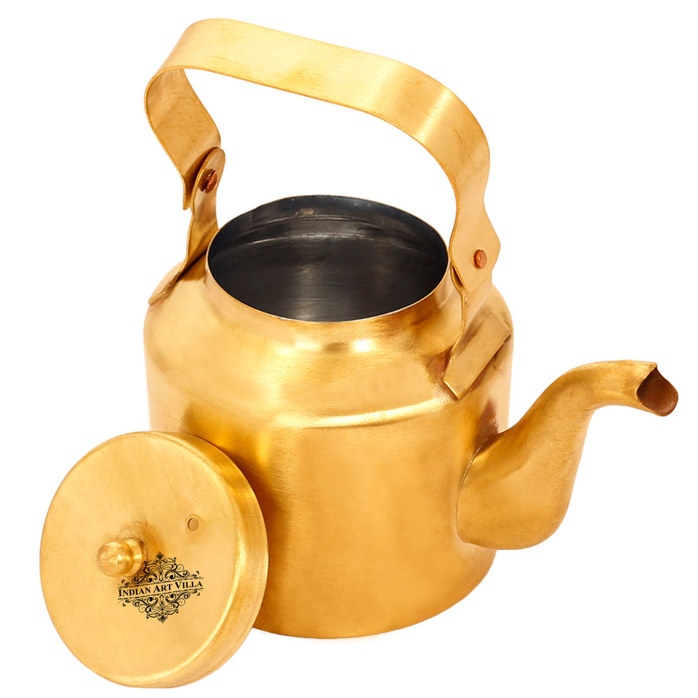 Brass Tea Kettle Pot Inside Tin Lining For serving Tea Coffee, Tableware, 350 ML, Gold