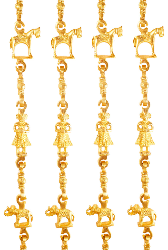 "Brass Jhula Chain Horse Men Guard Elephant with 3 step Designer Chain 75.9"" Inch Each Set of 4"