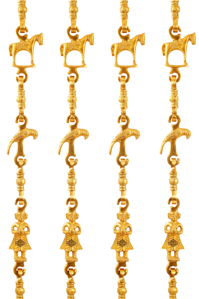 "Brass Jhula Chain Horse, Parrot, Men Guard,  Rudraksh Design, 75.8"" Inch Each, Set of 4"