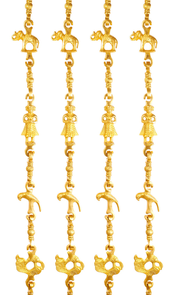 "Brass Jhula Chain Elephant, Parrot, Men Guard, Peacock,  Rudraksh Design, 76.2"" Inch Each, Set of 4"
