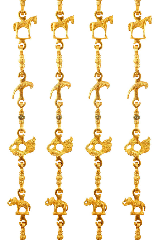 "Brass Jhula Chain Horse, Parrot, Peacock, Elephant,  Rudraksh Design, 74.3"" Inch Each, Set of 4"