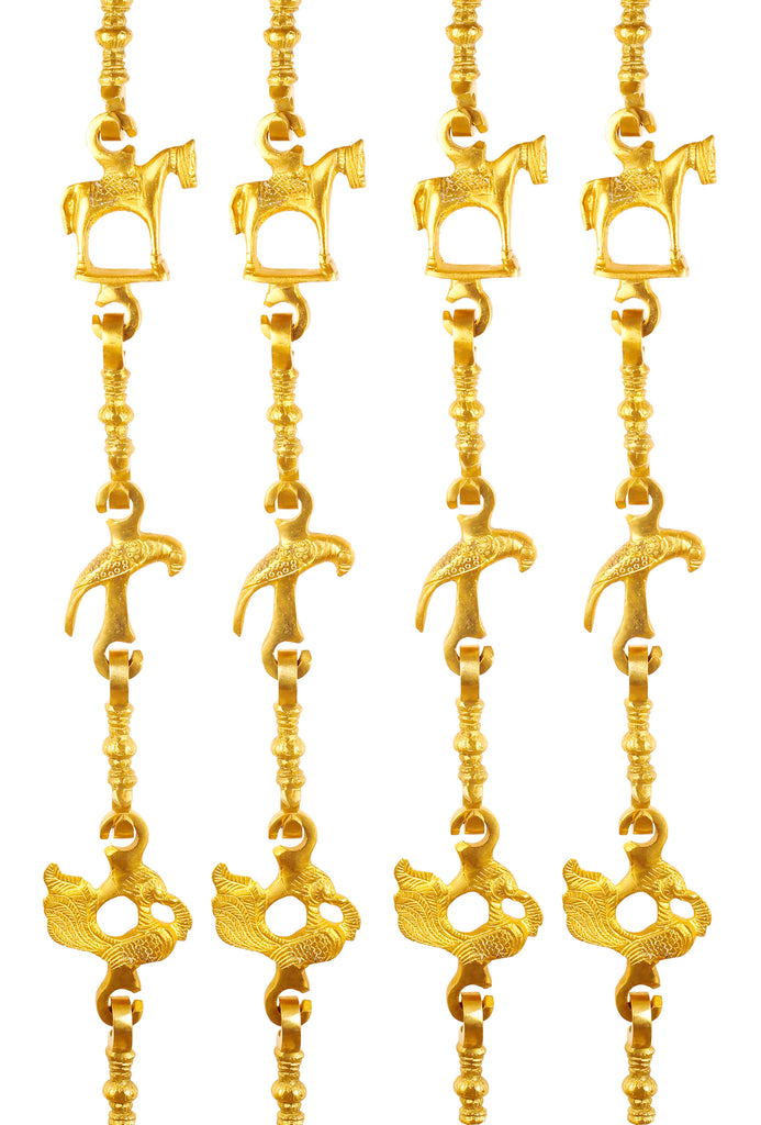 "Brass Jhula Chain Horse, Parrot, Peacock with 3step Designer Chain 73.4"" Inch Each, Set of 4"
