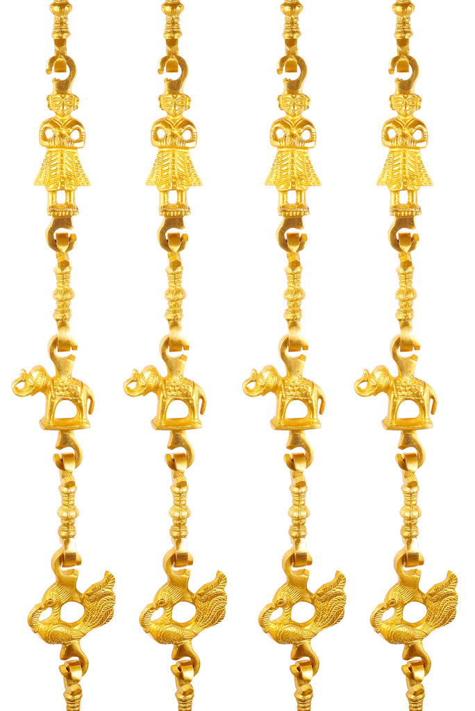 "Brass Jhula Chain Men Guard, Elephant, Peacock with 3 step Designer Chain 75.3"" Inch Each, Set of 4"