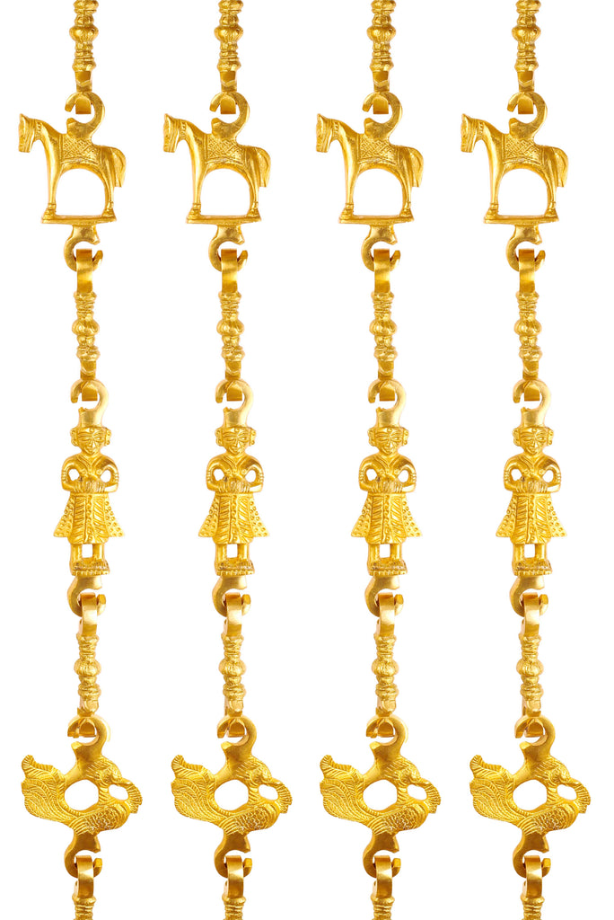 "Brass Jhula Chain Horse, Men Guard, Peacock with 3 step Designer Chain 75.3"" Inch Each, Set of 4"