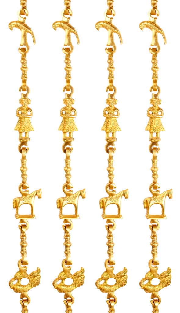 "Brass Jhula Chain Parrot, Men Guard, Horse, Peacock with 3 step Designer Chain 76.1"" Inch Each, Set of 4"