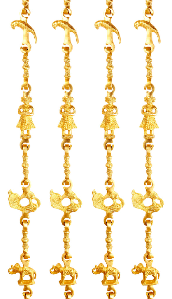 "Brass Jhula Chain Parrot, Men Guard, Peacock, Elephant With 3 step Designer Chain 76.1"" Inch Each, Set of 4"