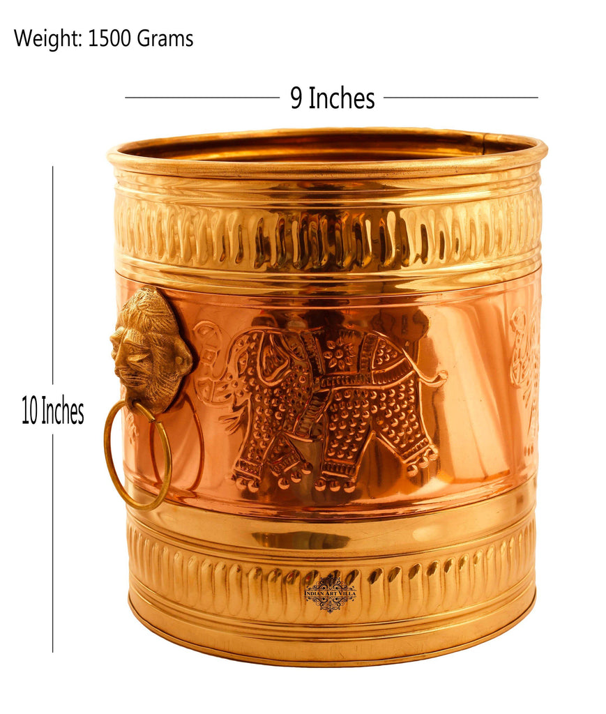 "Brass Embossed Home Decor Planter With Handle 10""X9""Inch Gold"