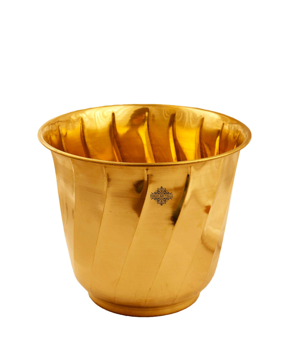 Brass Lining Design Planter , Gold - HOME DECOR
