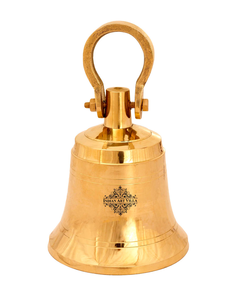 Brass Pooja Bell Ghanti With Screw  For Pujan Purpose , Spiritual Gift Item , Gold