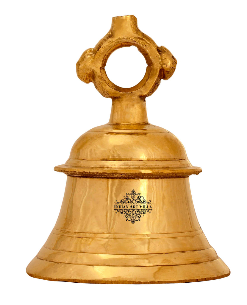 Brass Pooja Bell For Pujan Purpose , Spiritual Gift Item , Pooja Arti Temple Home Office, Gold