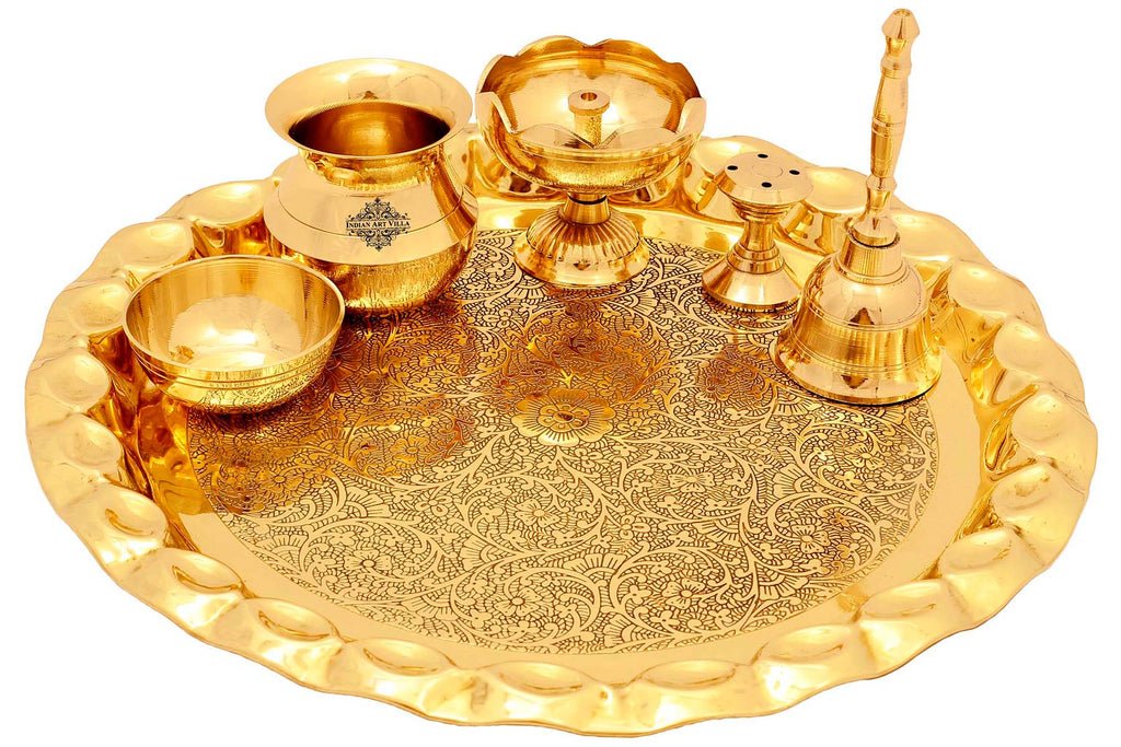 Brass Embossed design Puja Thali Platter Set , Religious Spiritual Item, Home Temple, 25 cm