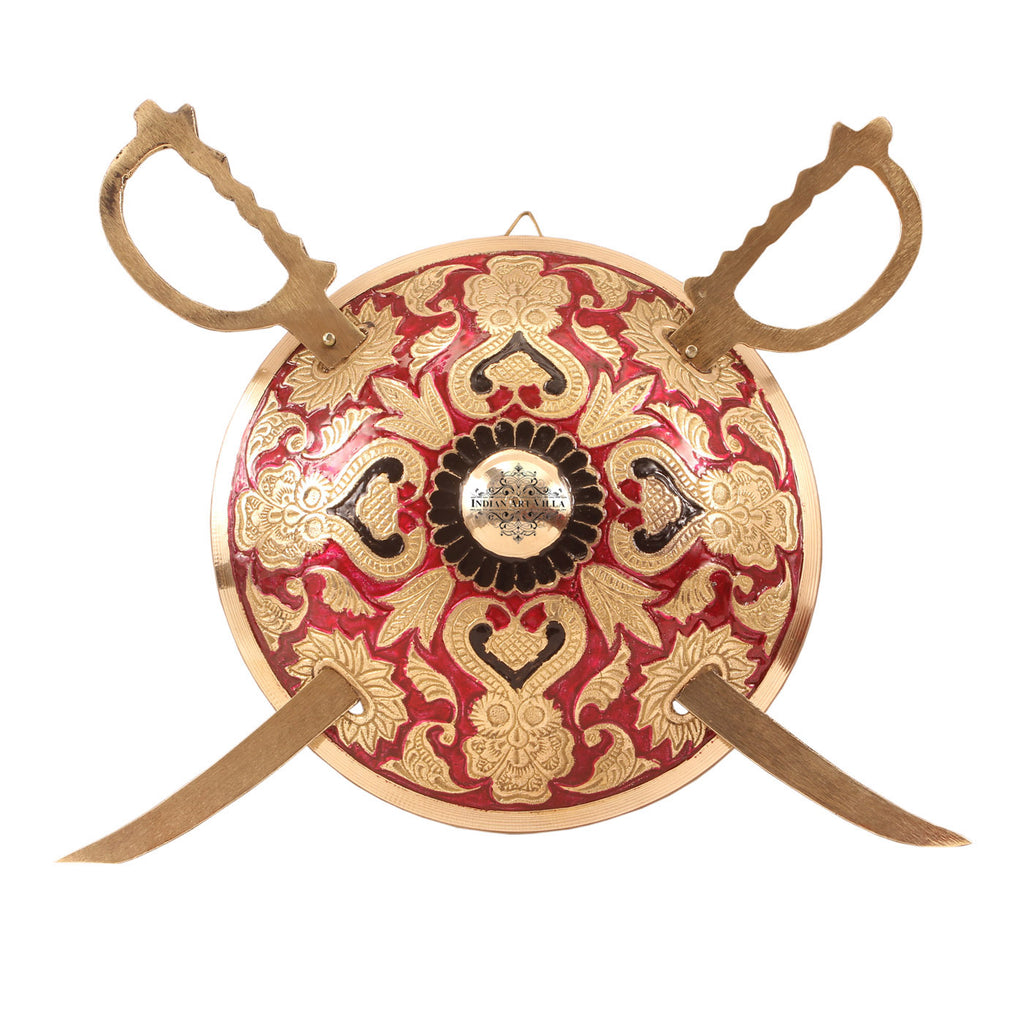 Brass Designer Swords with Shield Dhaal Talwar Decorative Wall Hanging