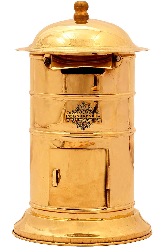 "Brass Designer Letter Box Post Box, Showpiece Home Decore Gift Item, Height 6"" Inch, Gold"