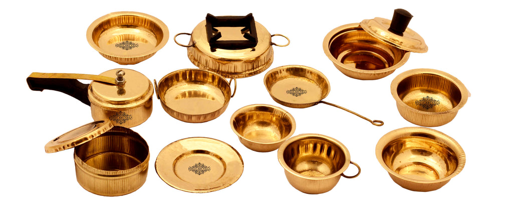 Designer Brass Kitchen Set Cooking Toy For Kids, 12 Pieces, Gold