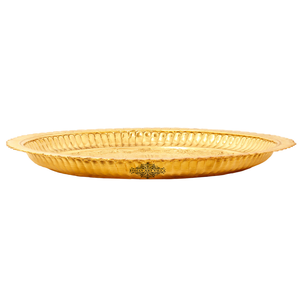 "Brass Flower Design Pooja Thali Plate | Poojan Temple Home |Diameter 10.2"" Inch"