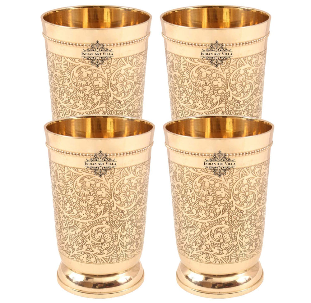 Brass Glass Tumbler Set of 4