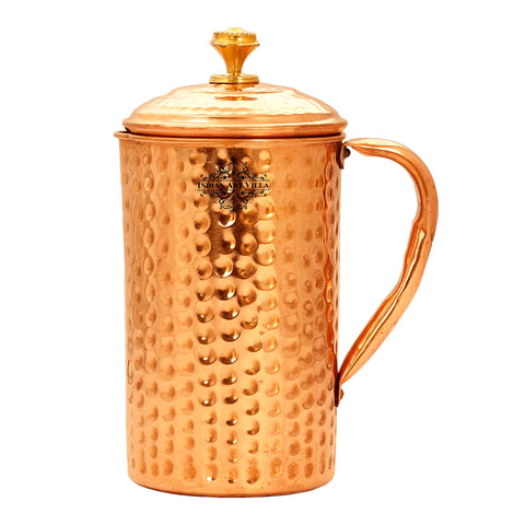 Copper Hammered Jug Pitcher with Brass Designer Lid - 1 Ltr. | 1.4 Ltr. | 2 Lrt.
