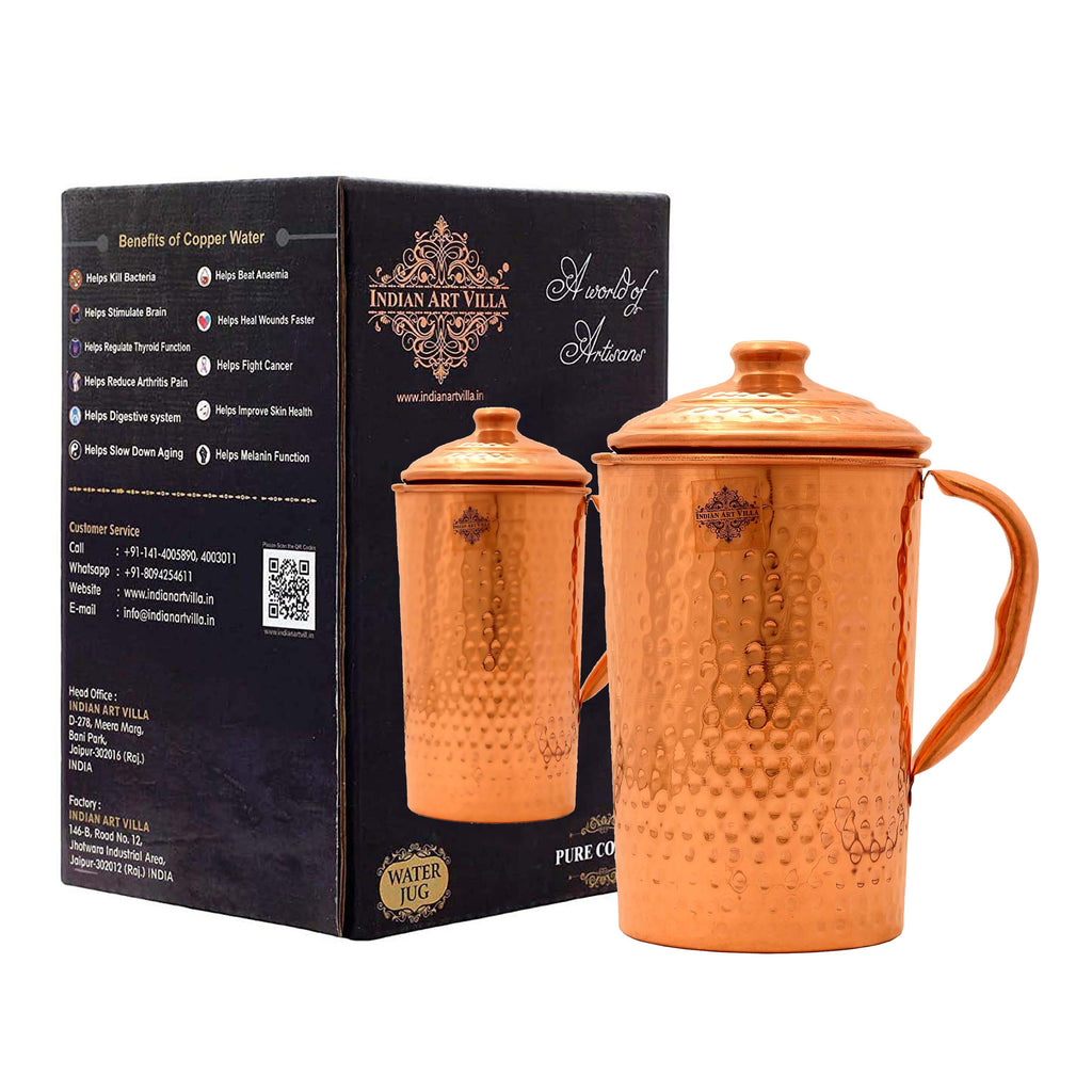 Copper Hammered Design Jug Pitcher With Lid - 1 Ltr. | 1.5 Ltr. | 1.7 Ltr. | 1.9 Ltr.