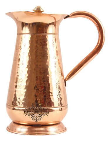 Copper Hammered Mughlai Jug with Lid - 43 Oz