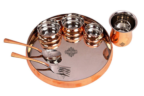 Steel Copper Curved Design Dinner Set (7 Pieces) - 1500 Weight