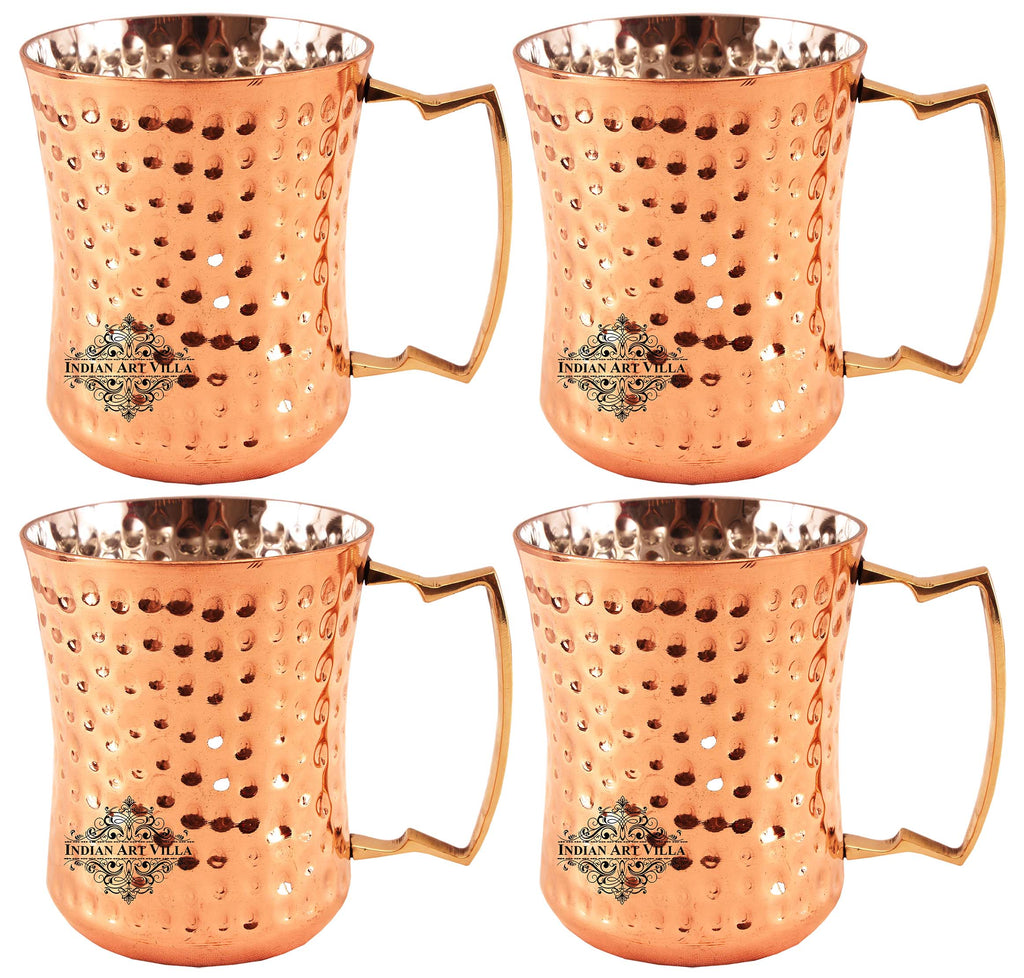 Steel with Copper Plated Round Hammered Curved Glass Tumbler 11 Oz