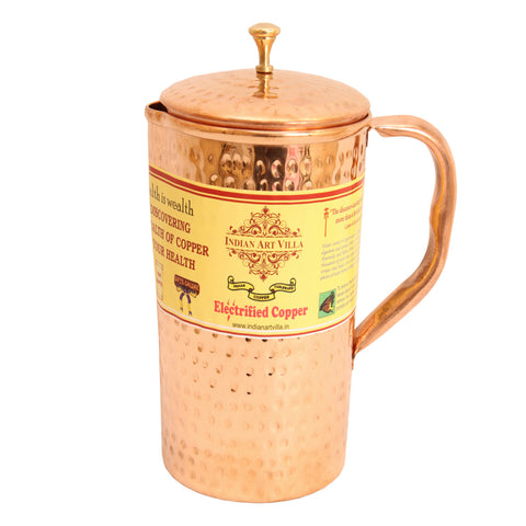 Pure Copper Hammered Jug Pitcher - 33 Oz With Lid