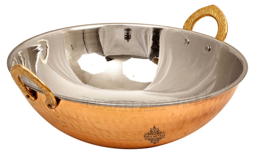 Steel Copper Dish Serving Indian Food Kadai
