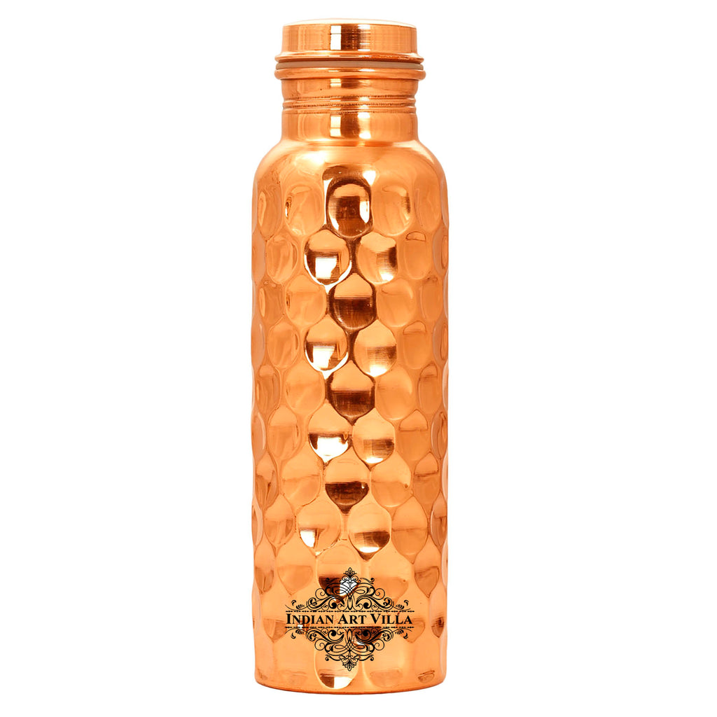 Copper Mirror Shine Finish Lacqour Coated Diamond Design water Bottle 34 Oz