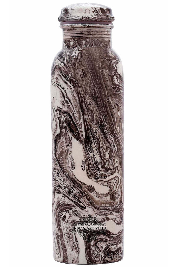 Copper Marble Design water Bottle , 33 Oz , White & Black