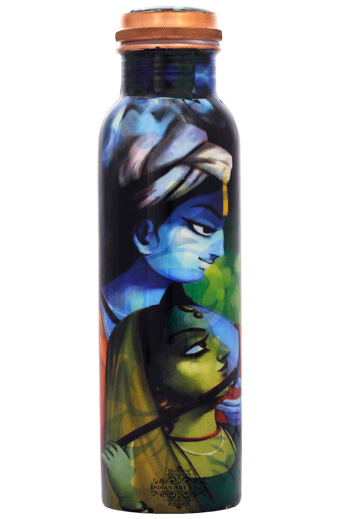 Copper Radha Krishna Design water Bottle , 33 Oz , Multi-color