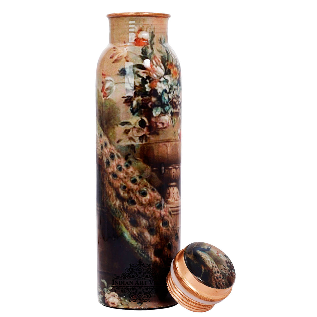 Copper Bottle Peacock Design Bottle, 33 Oz , Multicolor