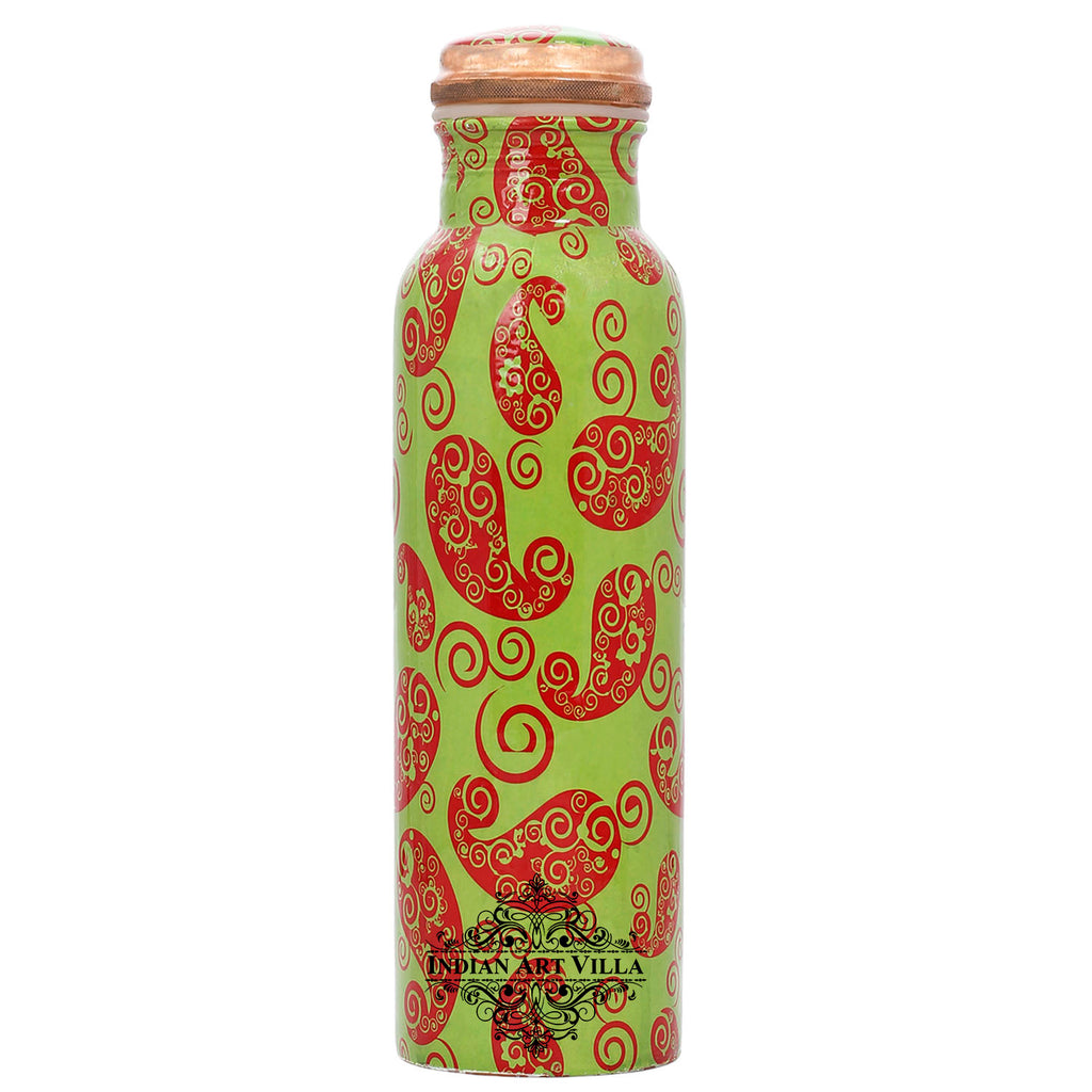 Copper Paisely Design water Bottle, 33 Oz, Green