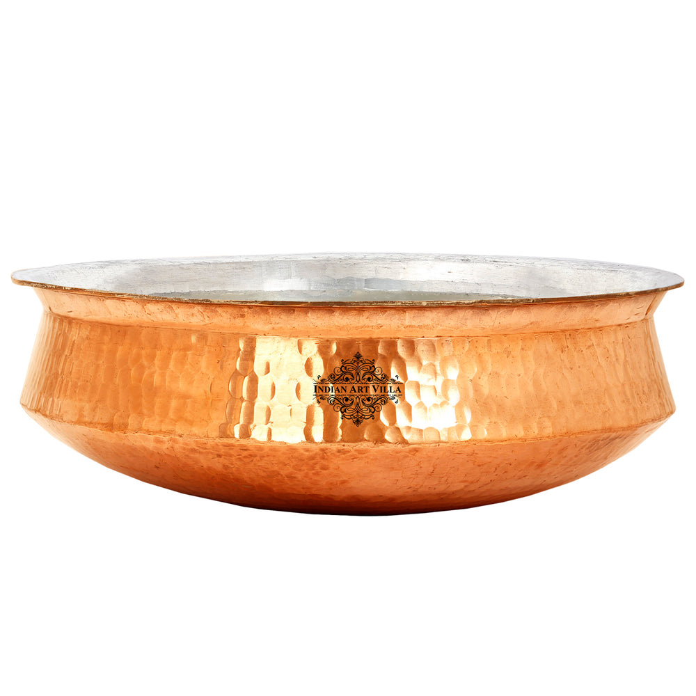 Pure Copper Hammered Lagan Handi Chaffing Dish Pan With Tin Lining, Cookware & Serveware, Brown