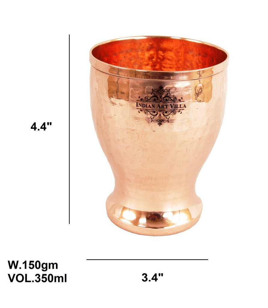 Handmade Hammered Pure Copper Glass Cup 11 Oz