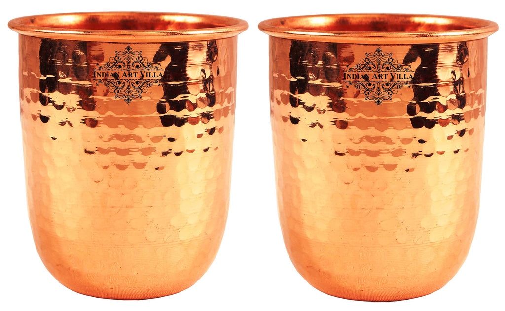 Copper Round Hammered Glass Tumbler Volume 10 Oz