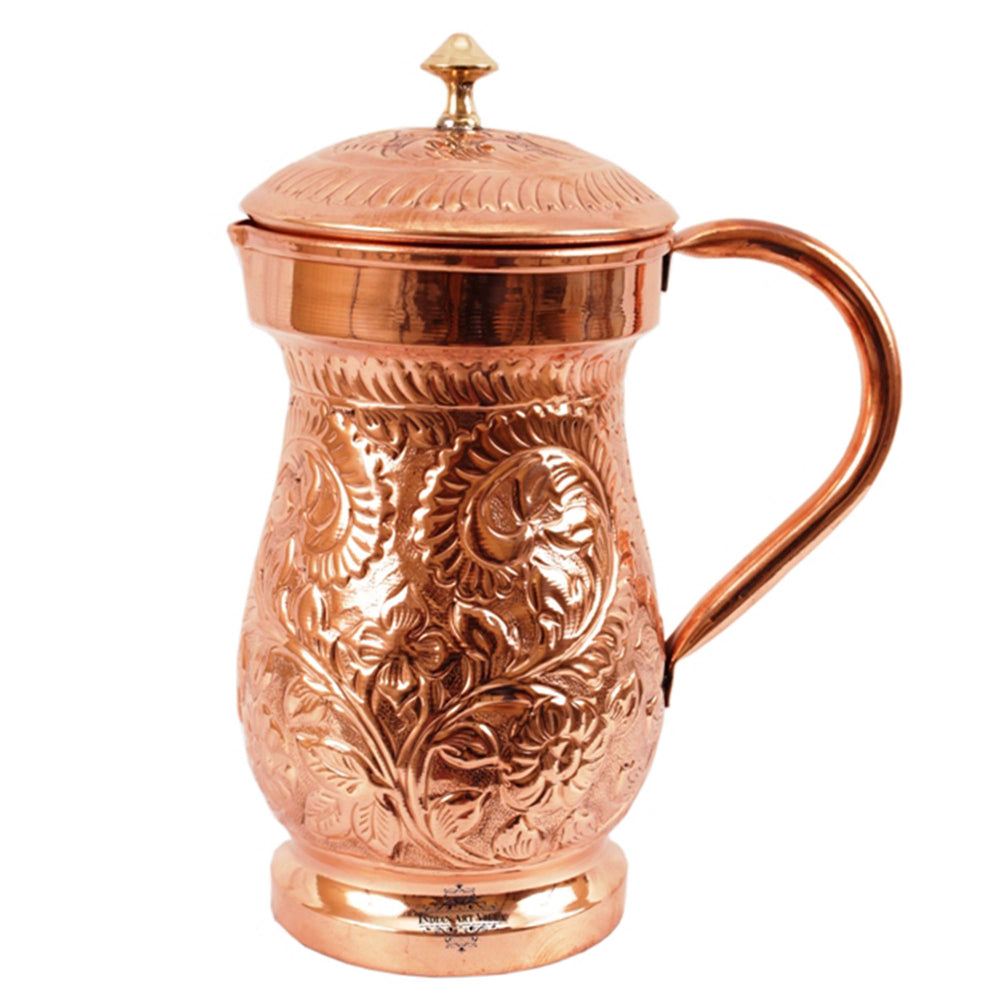 Antique Embossed Design Pure Copper Jug With Lid,1500 ML
