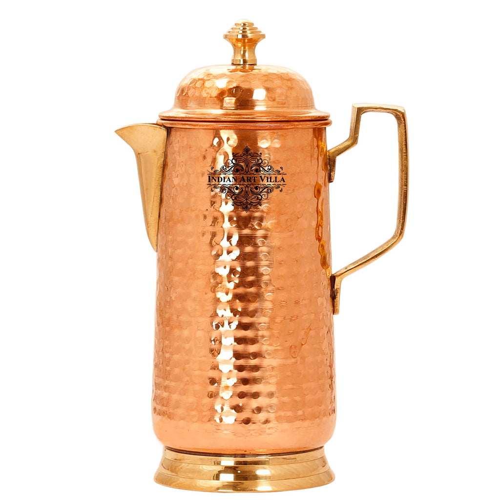 Pure Copper Hammered Jug with Brass Handle