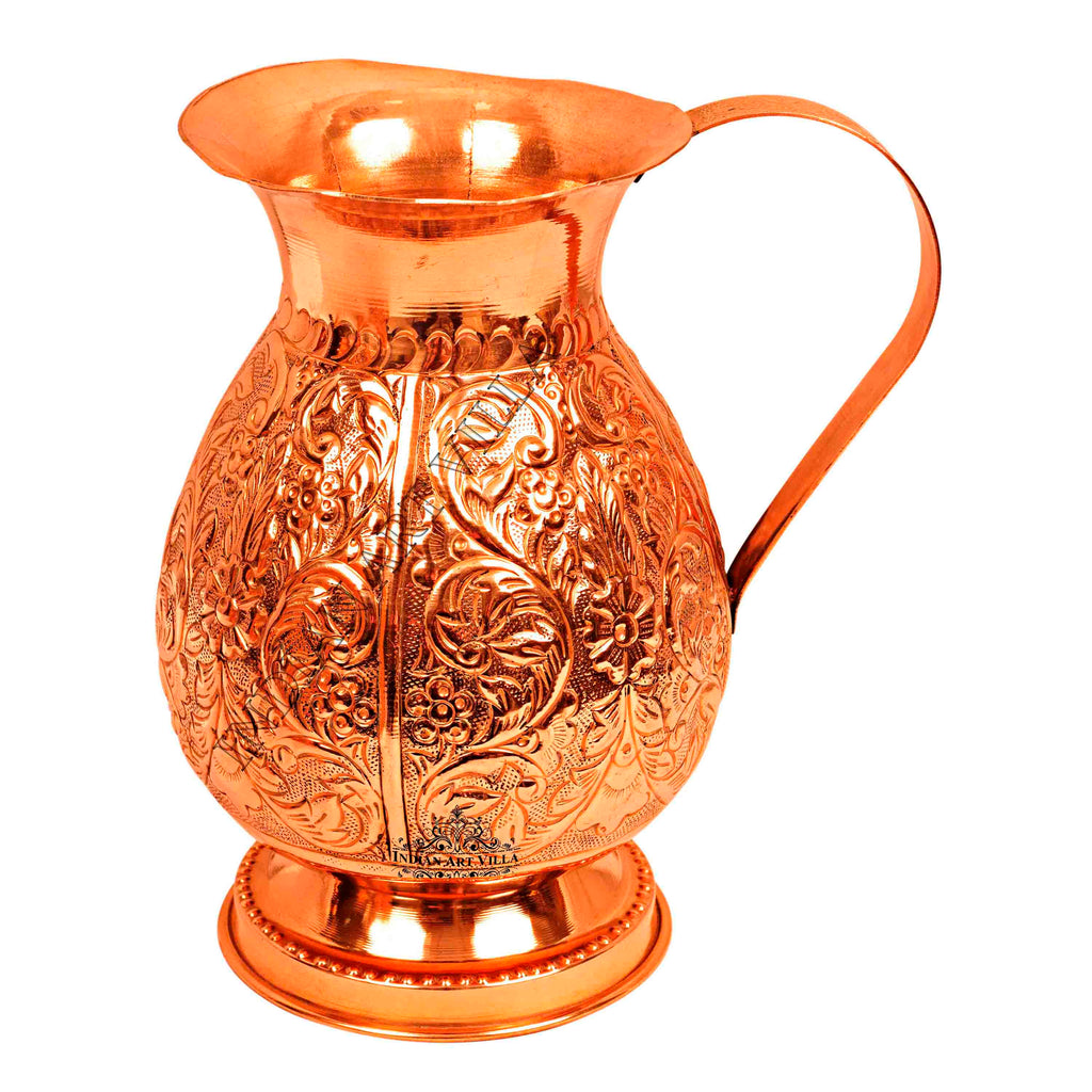 Pure Copper Leaf Vintage Design Jug Pitcher 60 Oz