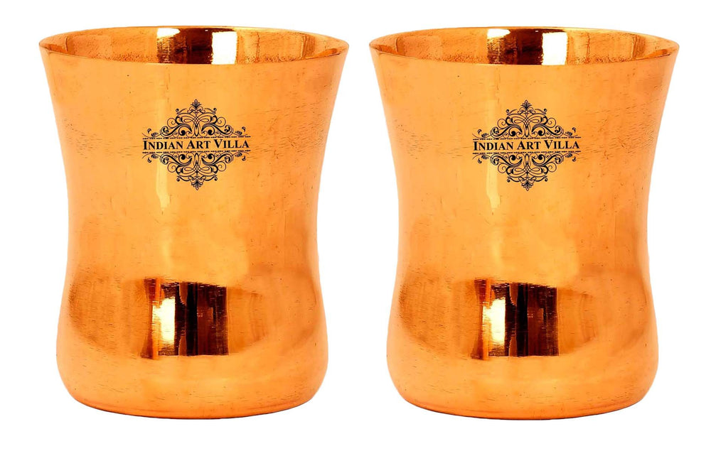 Copper Curved Plain Glass Tumbler Cup, 10 Oz