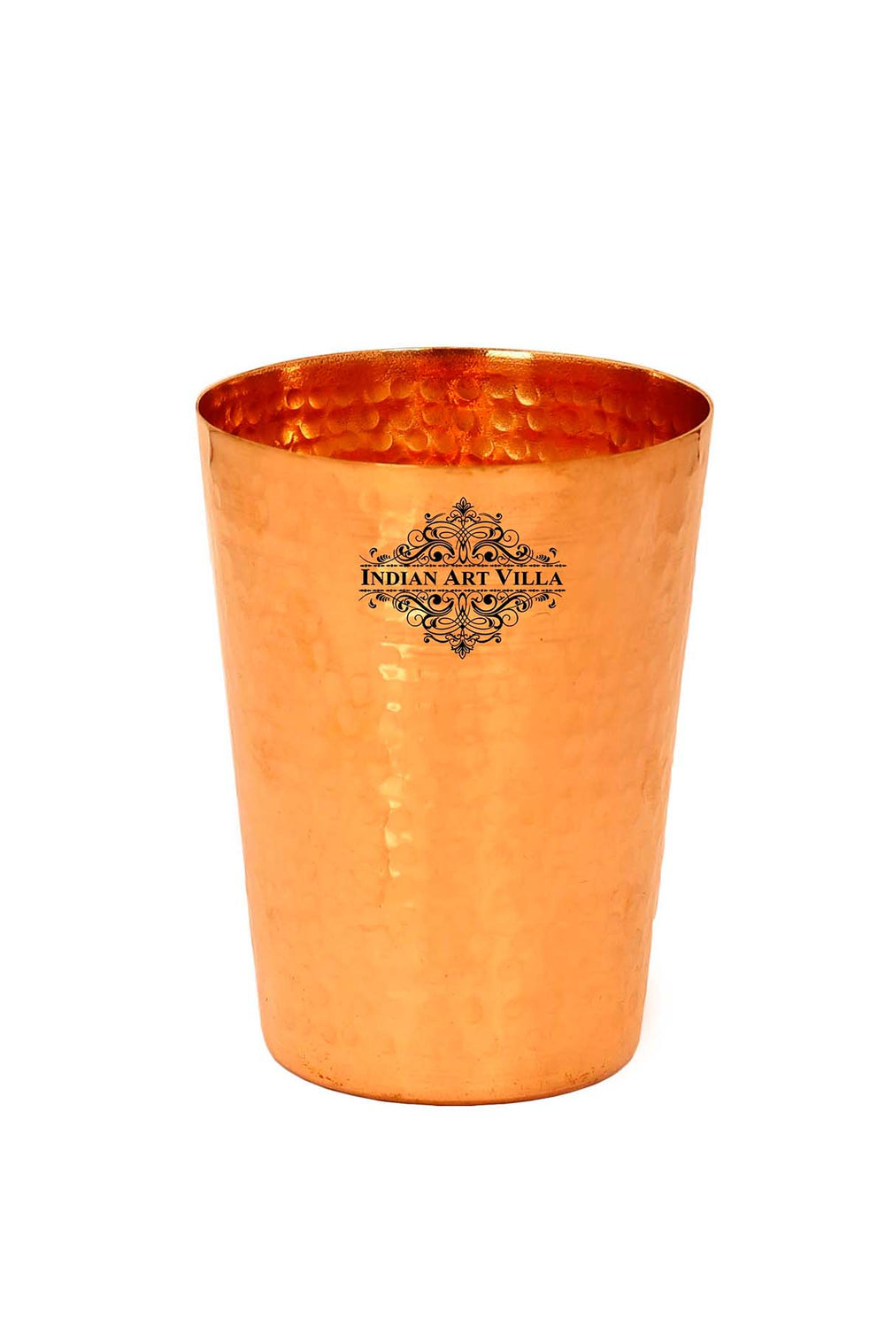 Pure Copper Hammered Design Glass Tumbler Cup 13 Oz