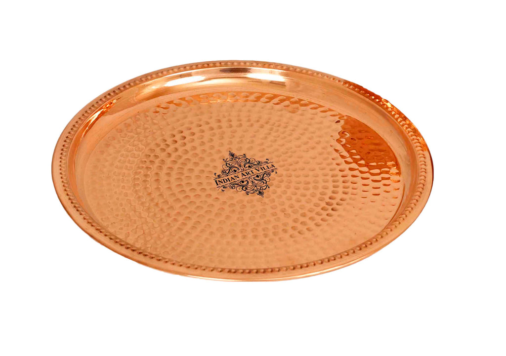 Pure Copper Hammered Design Thali Plate