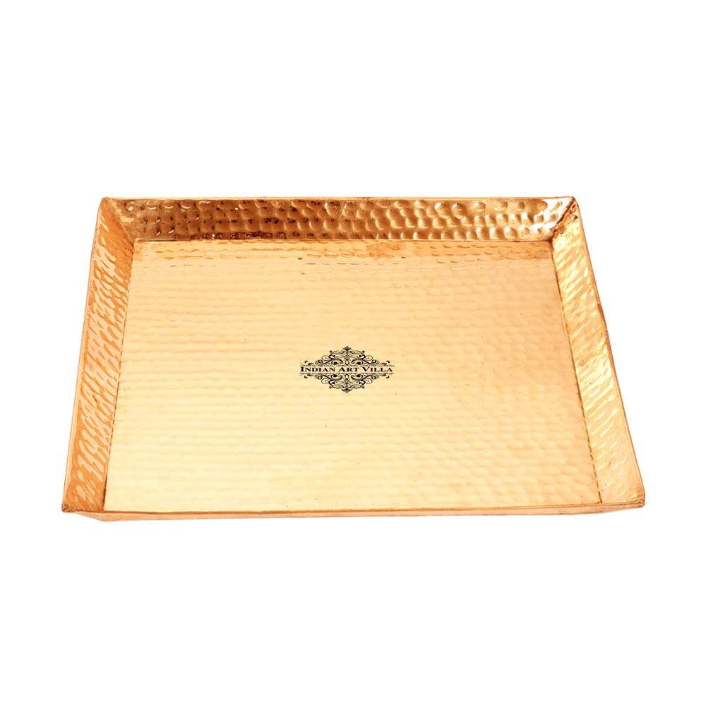 Copper Hammered Square Tray With Beeding- 32x32 Cm