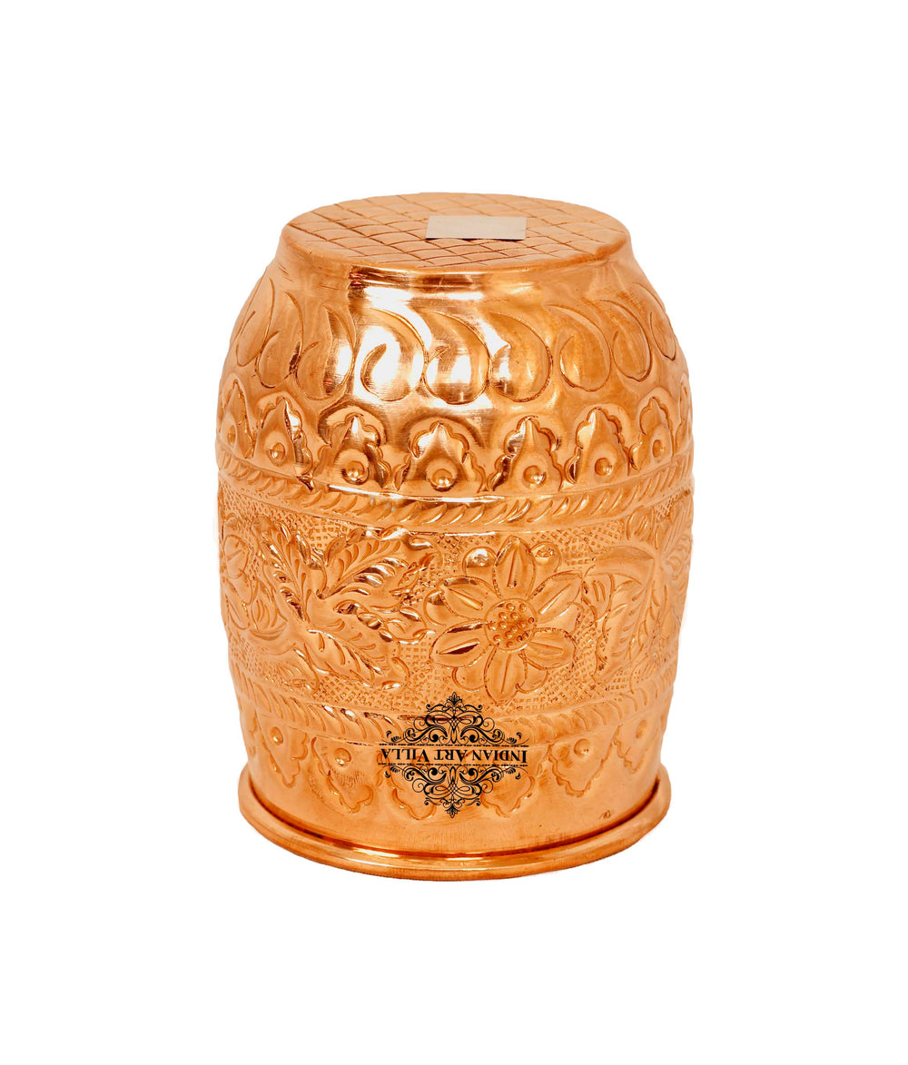 Copper Embossed Flower Design Glass Tumbler Cup 11 Oz