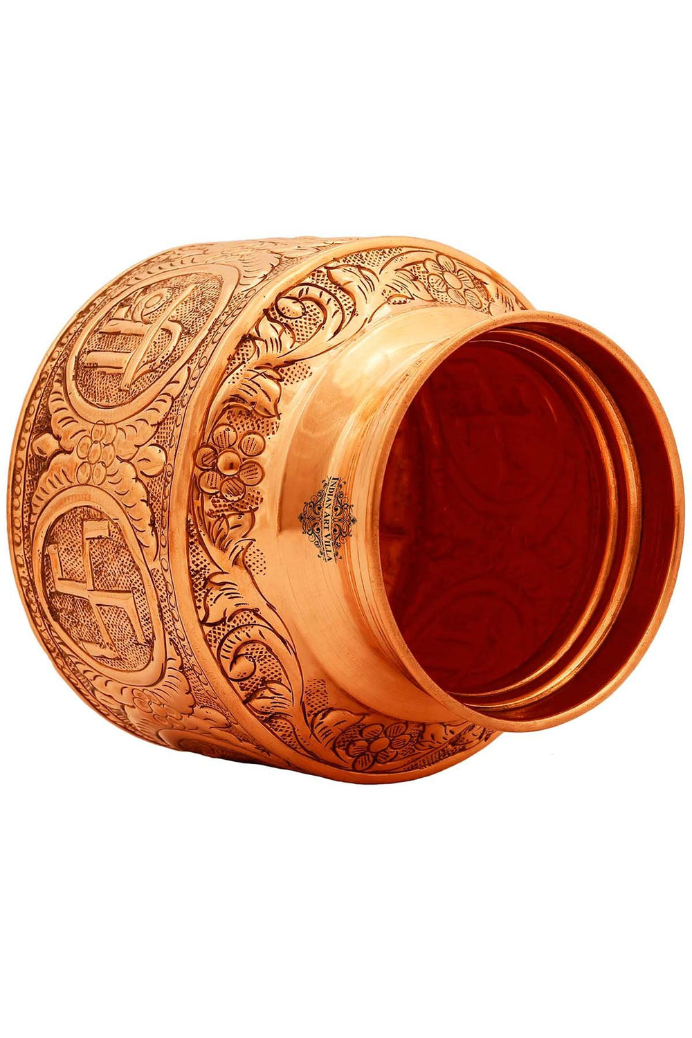 Copper Om Swastik Design Lota Kalash Pot