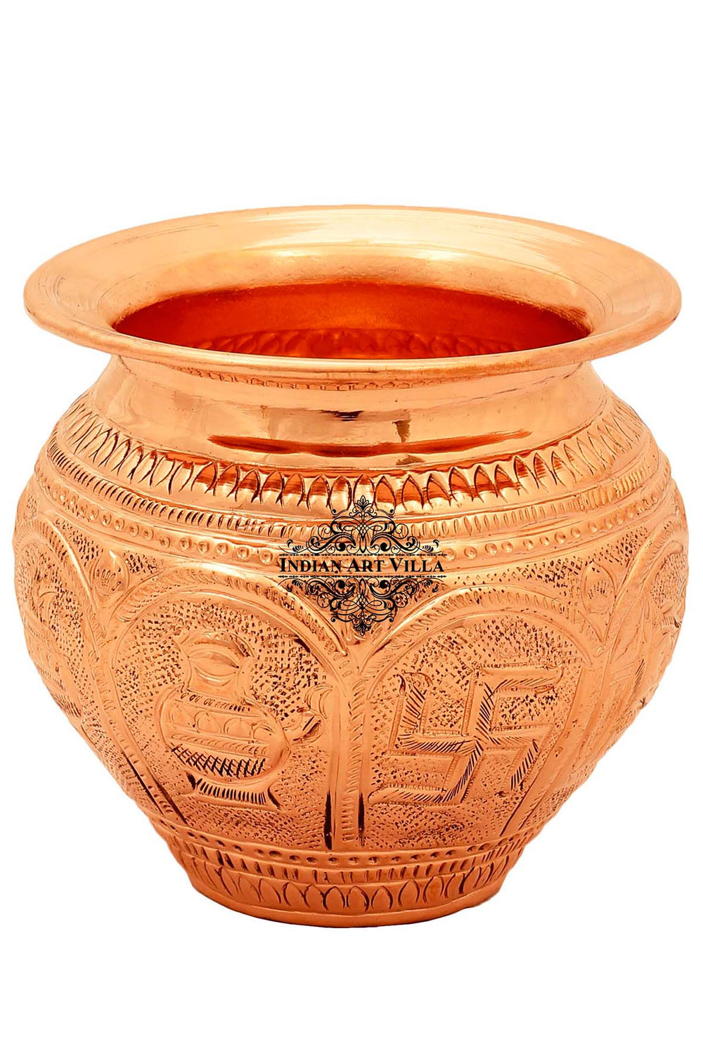 Copper Swastik Design Lota Kalash Pot, Pooja Temple Home Office, 21 oz