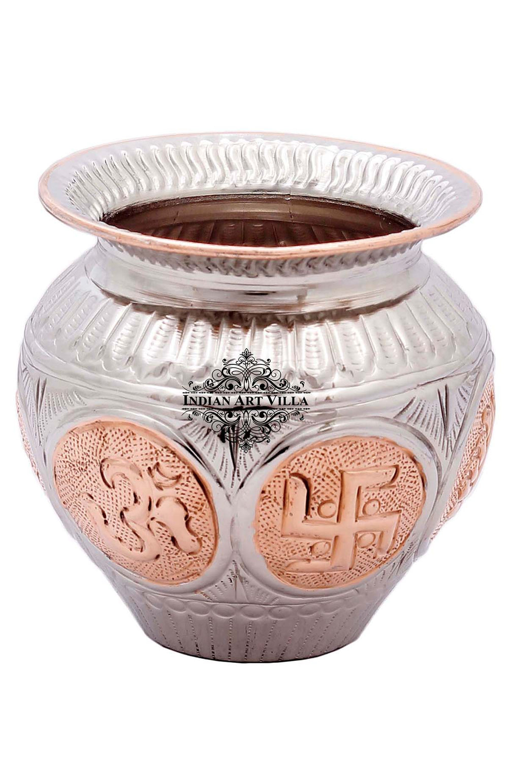 Copper Om Swastik Design Lota Kalash Pot, 23 Oz